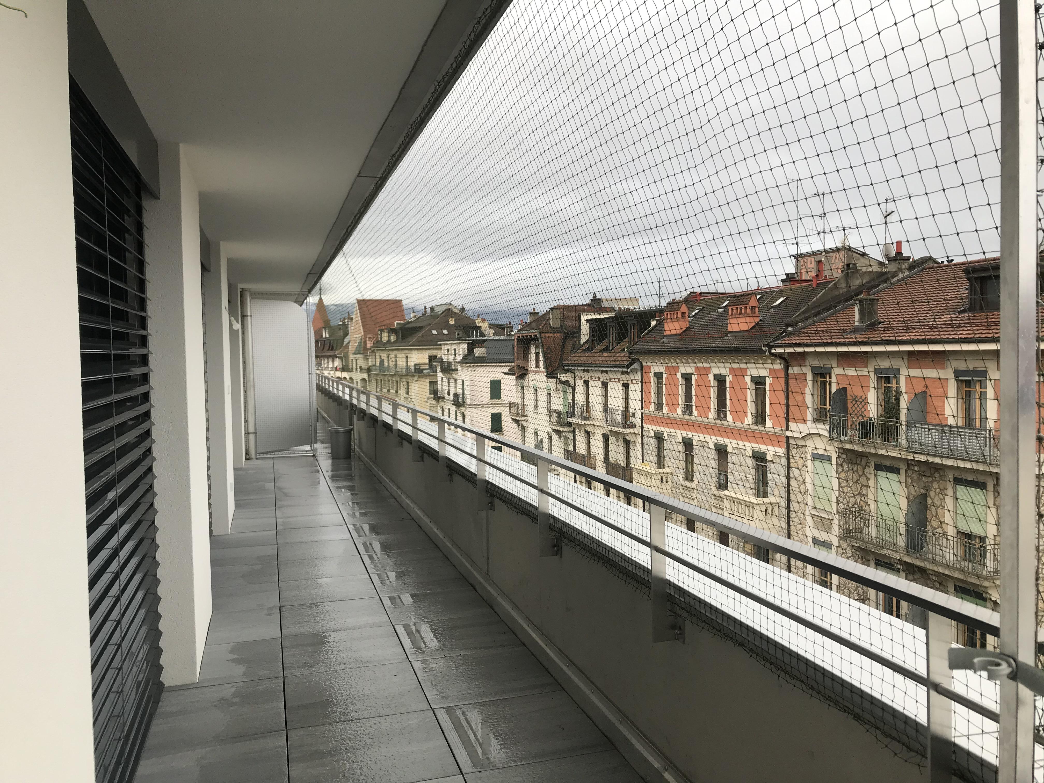 Catio sur terrasse - immeuble Minergie (isolation périphérique)